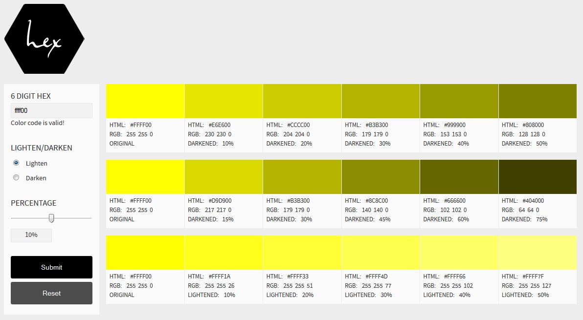 Hex Color Tool Screenshot
