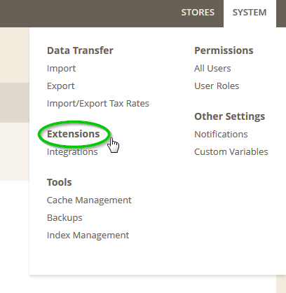 Screenshot: Magento2 System Menu