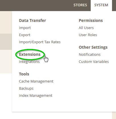 Screenshot: Magento2 System Menu